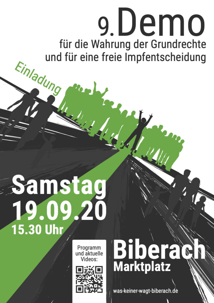 Demo in Biberach Flyer für den 19.09.2020