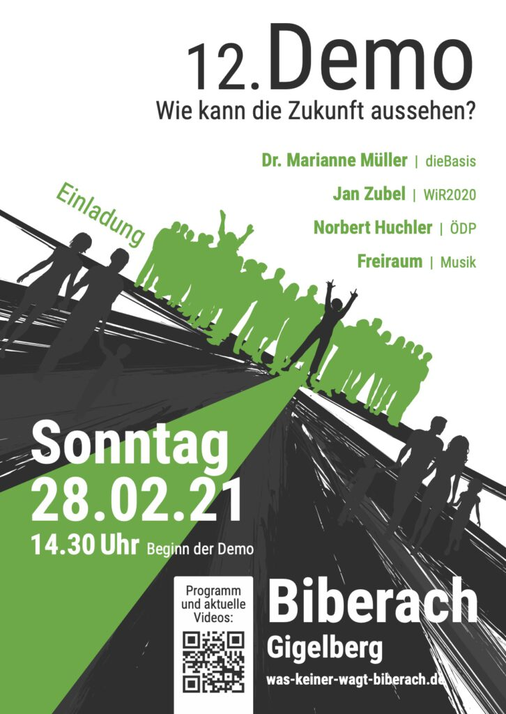 Demo in Biberach, ödp, die Basis, Wir2020 28.02.2021